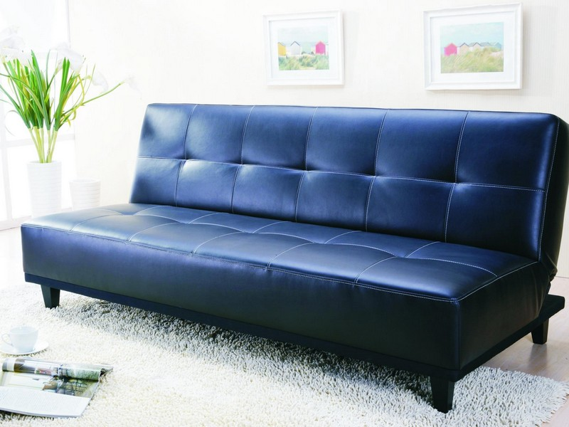 Blue Leather Loveseat