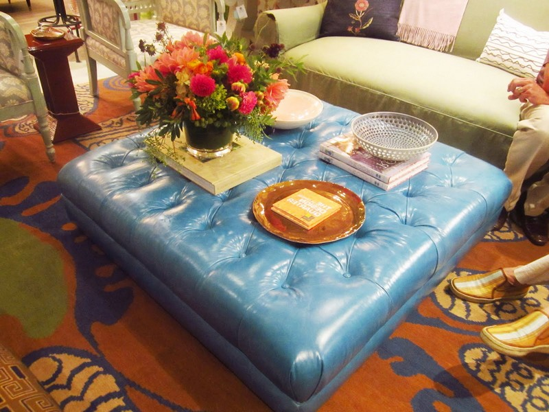 Blue Leather Ottoman Coffee Table