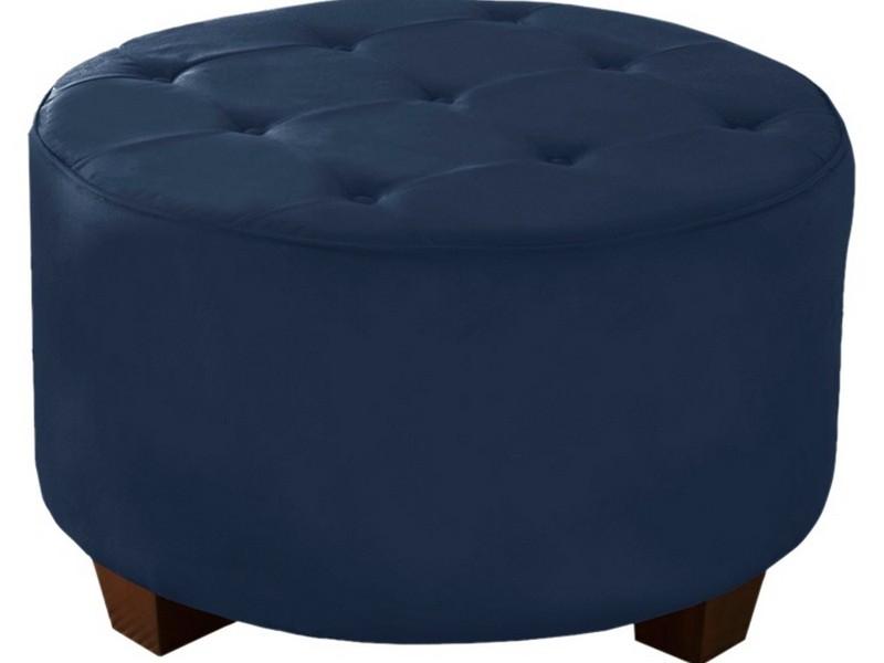 Blue Tufted Ottoman