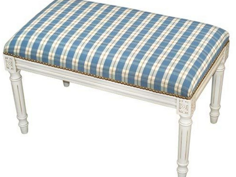 Blue Upholstered Bench