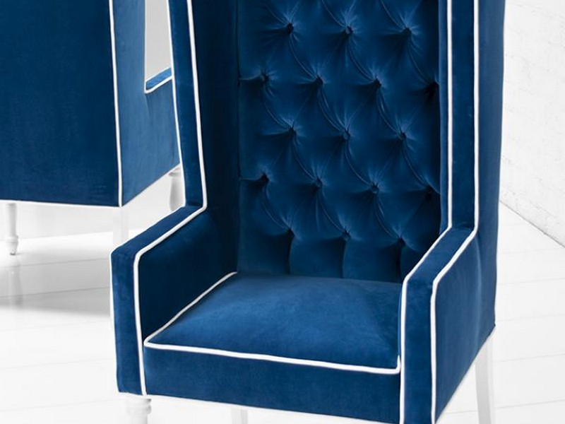 Blue Velvet Wingback Chair