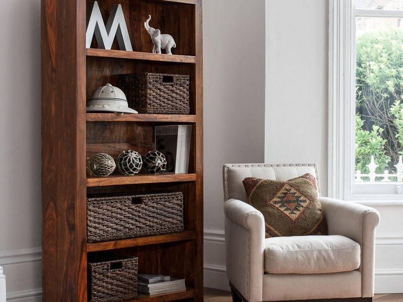 Bookcase With Wicker Baskets