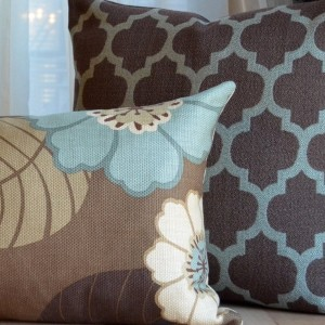 Brown And Blue Couch Pillows