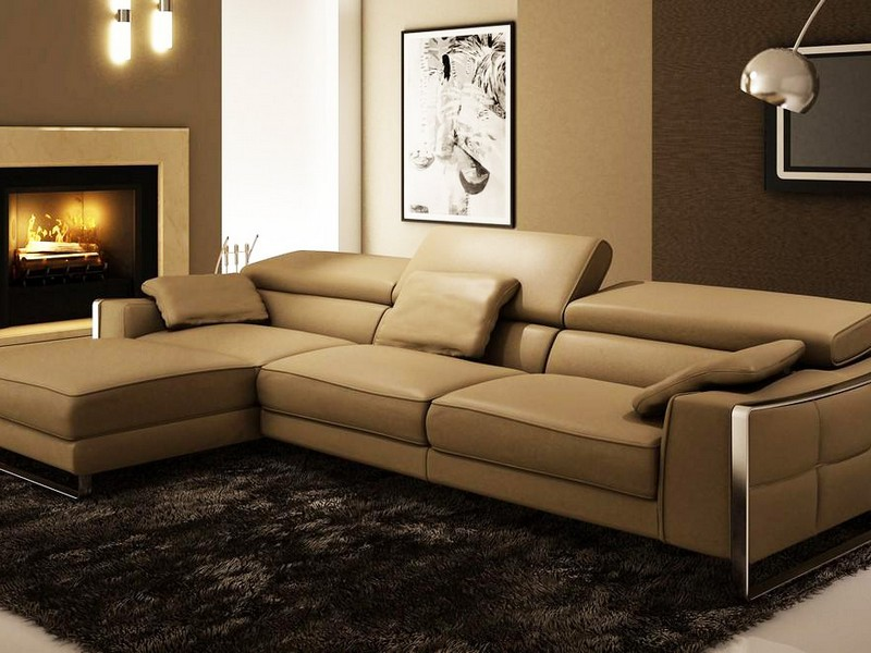 Brown Leather Chaise Sofa