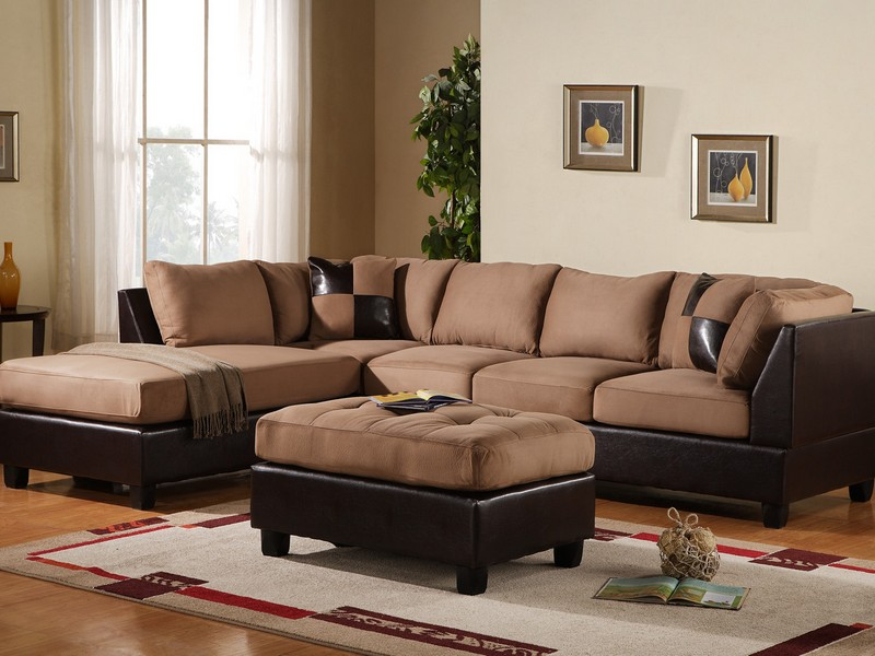 Brown Leather Sectional With Ottoman