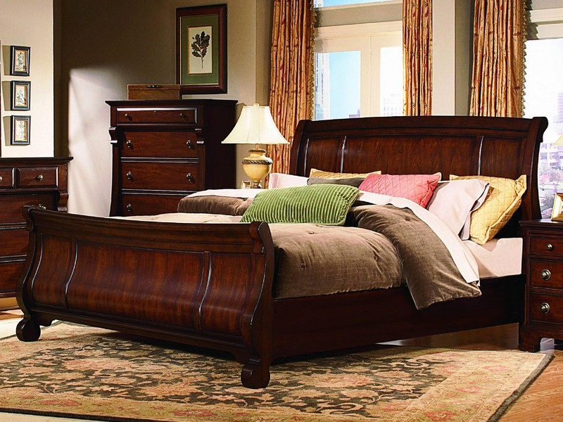 Brown Leather Sleigh Bed King Size