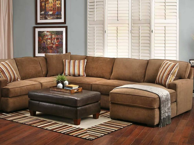 Brown Leather Suede Couch
