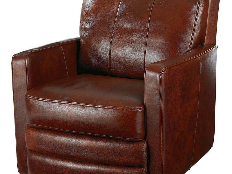 Brown Leather Swivel Club Chair