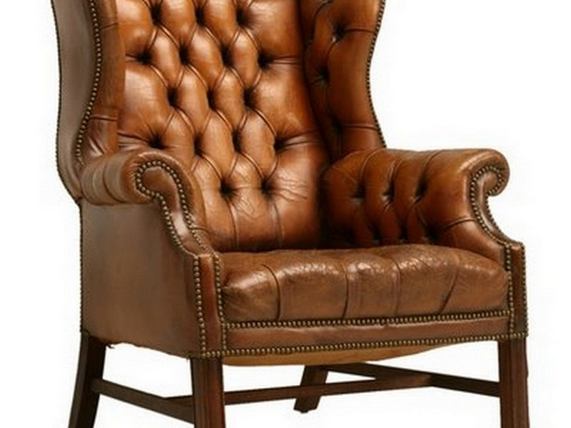 Brown Leather Wingback Chair