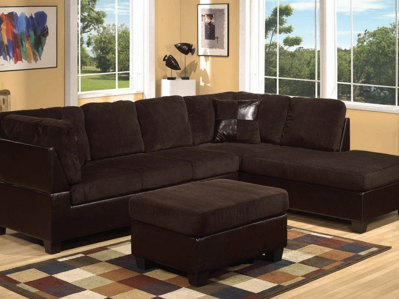 Brown Sectional With Ottoman