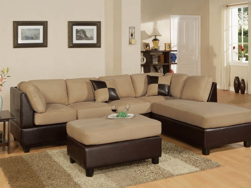 Brown Suede Sectional Couch