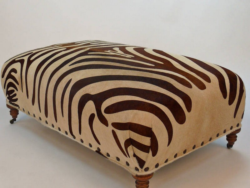 Brown Zebra Print Ottoman