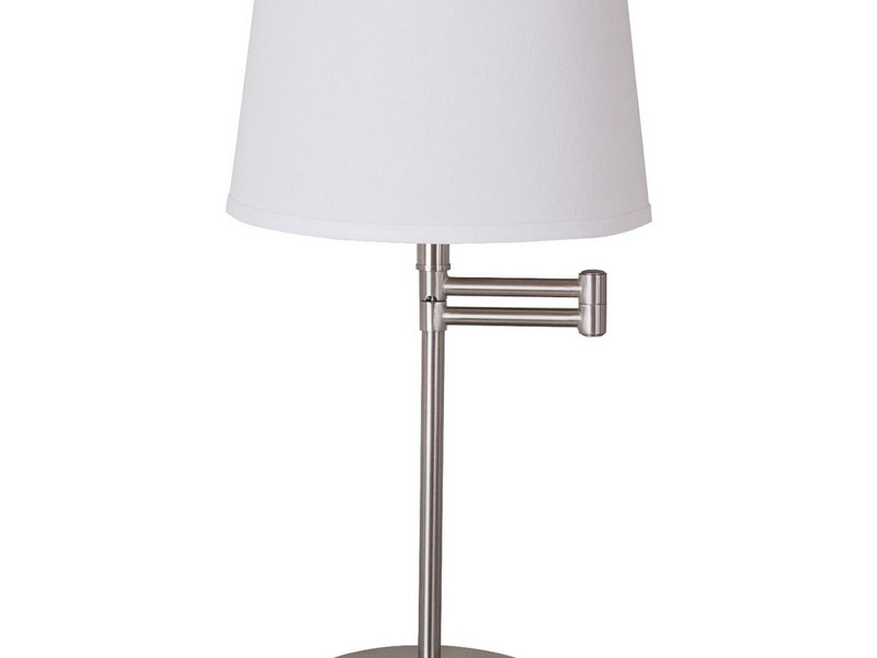 Brushed Nickel Table Lamp With Glass Shade