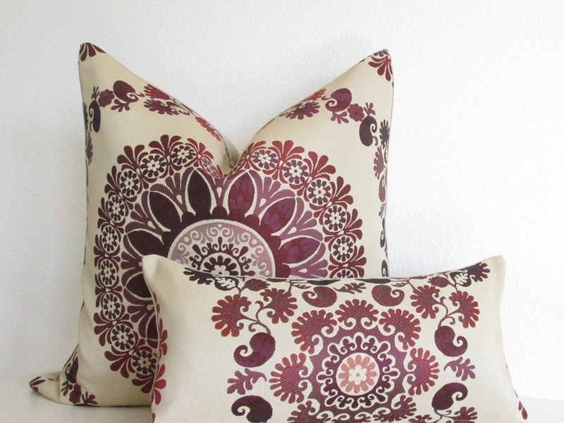 Burgundy And Tan Throw Pillows