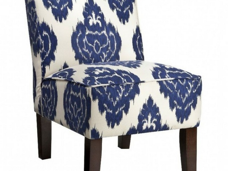 Burke Armless Slipper Chair Blue Diamonds