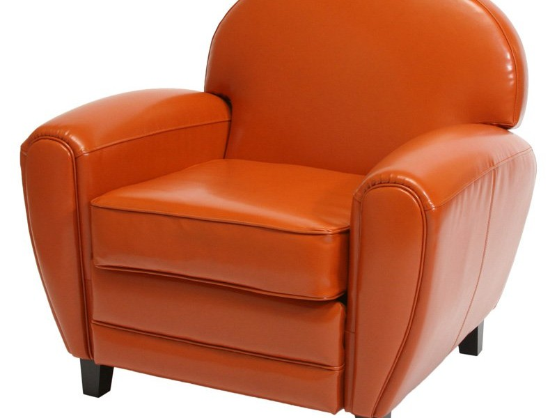 Burnt Orange Leather Accent Chair