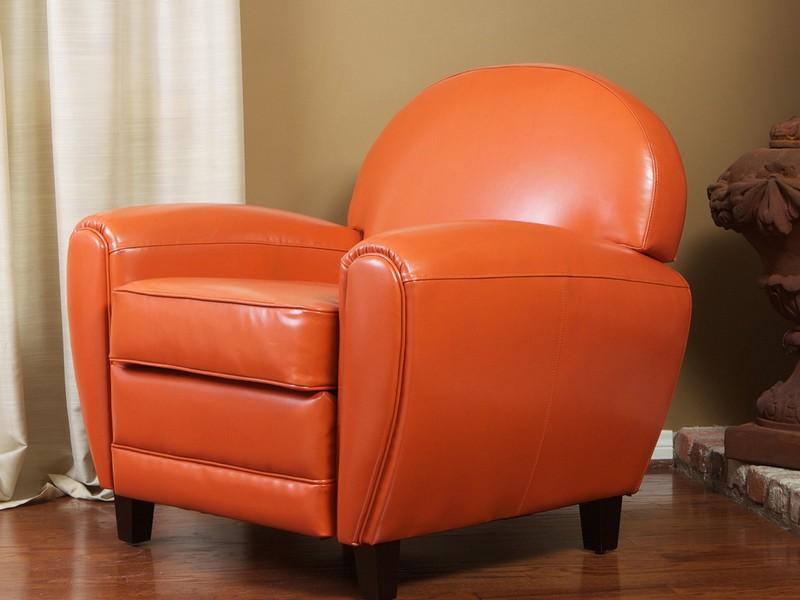 Burnt Orange Leather Ottoman