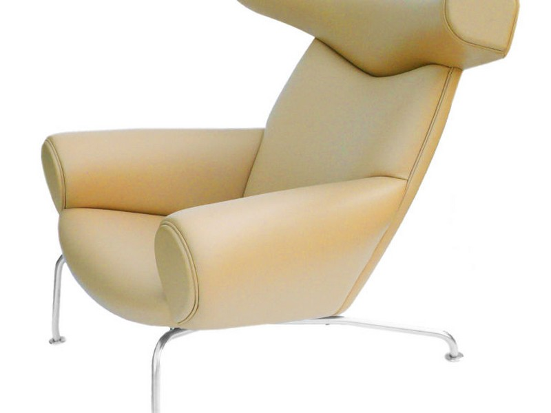Camel Leather Chair And Ottoman