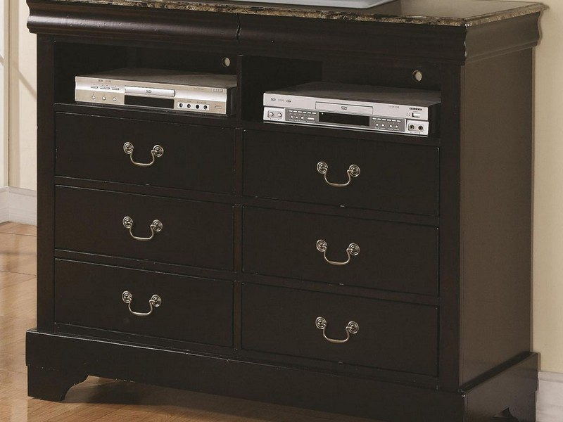 Chest Of Drawers With Media Shelf