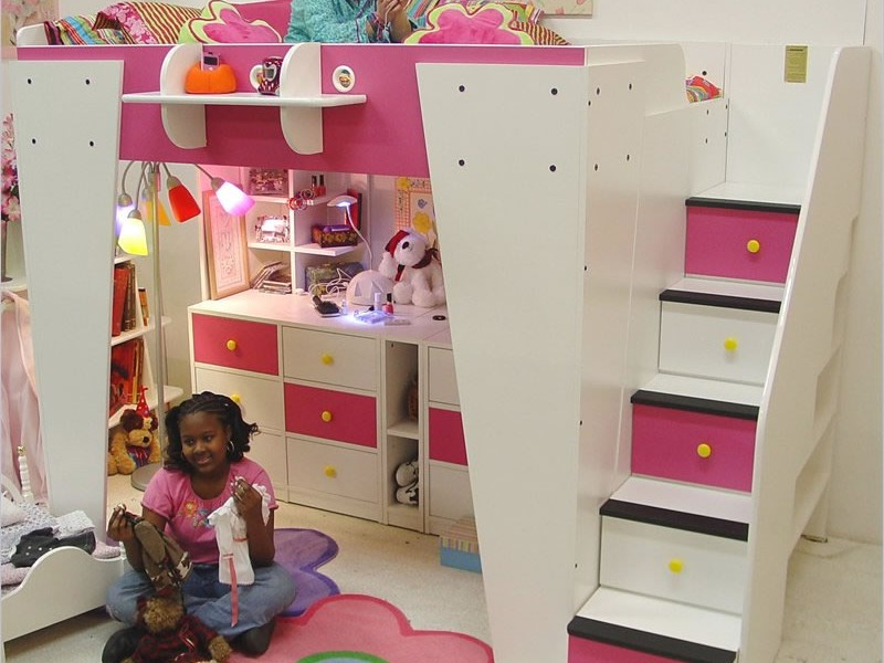 Kids Beds With Storage White Bed Drawers Stairs Flower Pink Carpet