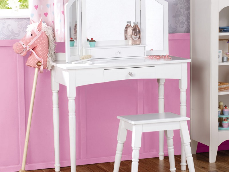 Childrens Vanity Table With Mirror And Bench