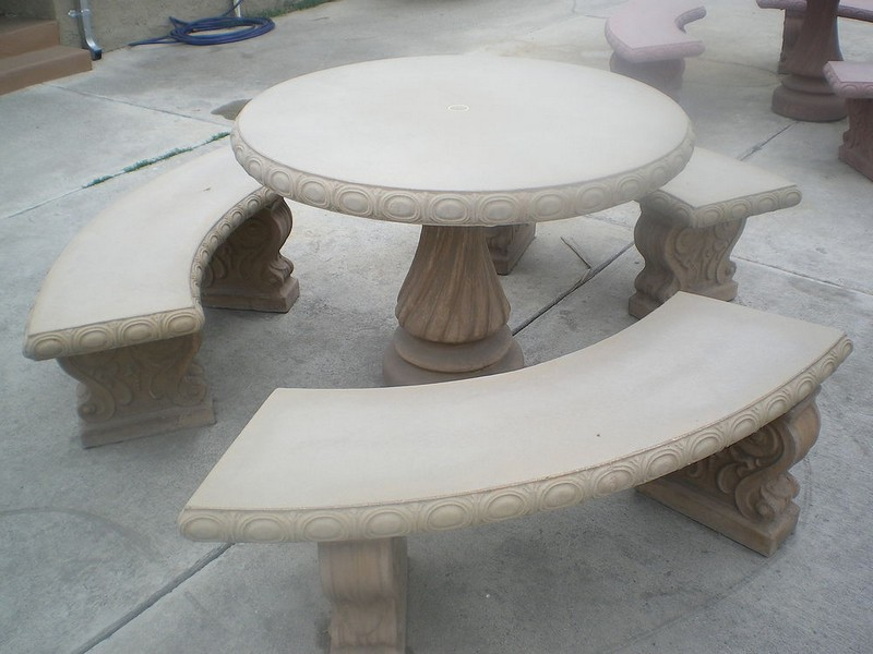 Concrete Round Table And Benches Outdoor