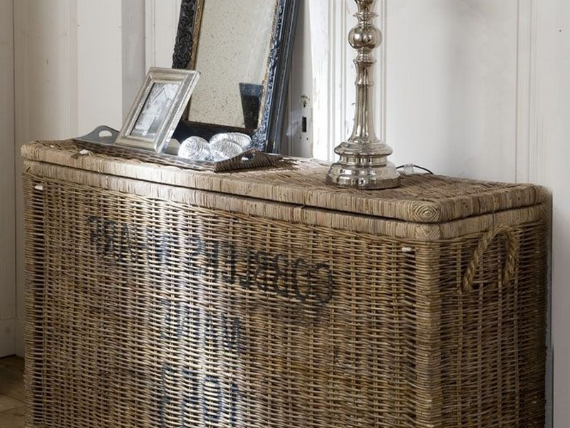 Console Table With Wicker Baskets