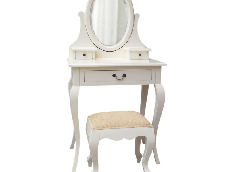 Corner Dressing Table White