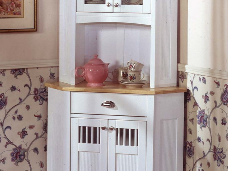 Corner Kitchen Hutch White