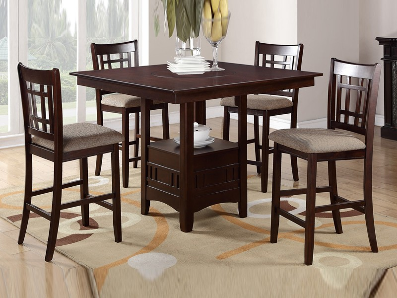 Counter Height Dining Table With Lazy Susan