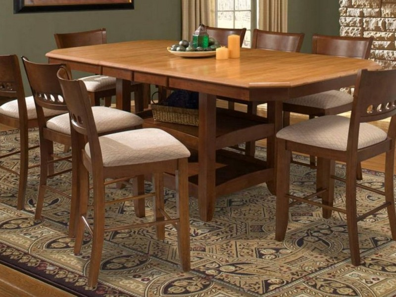 Counter Height Pedestal Table With Leaf