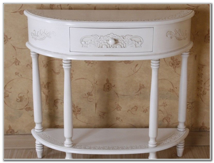 Curved Console Table In Distressed Wood Finish