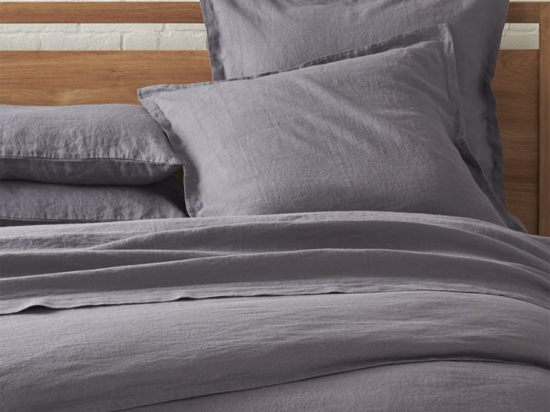 Dark Grey Linen Duvet Cover