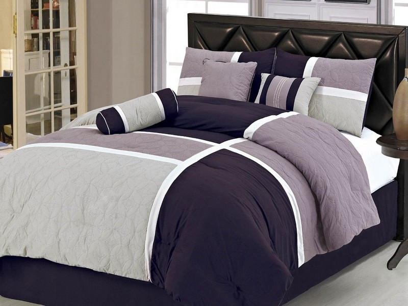 Dark Purple And Grey Bedding