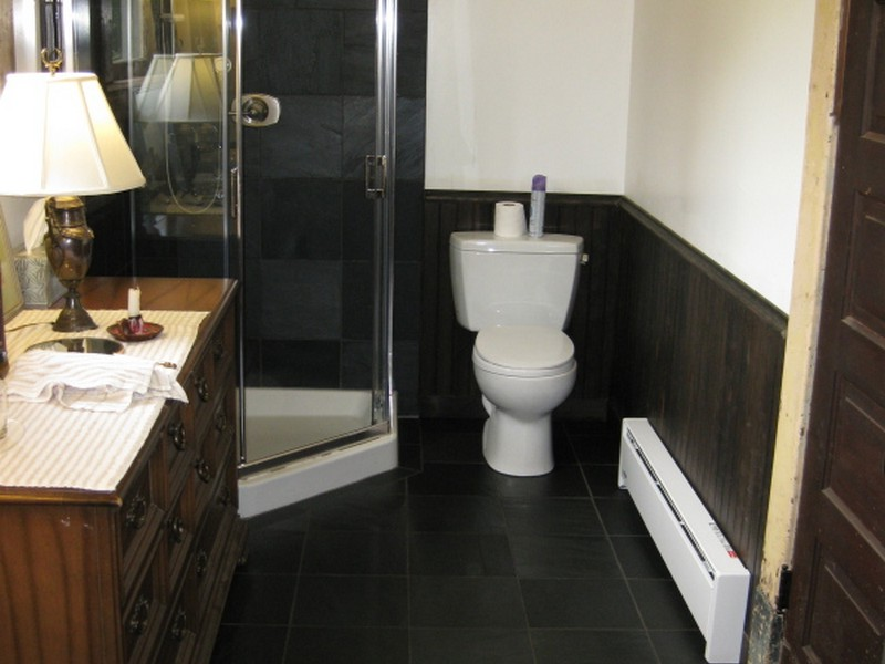 Dark Slate Tile Bathroom