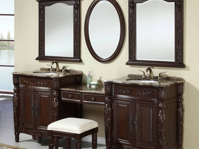Dark Wood Framed Bathroom Mirrors