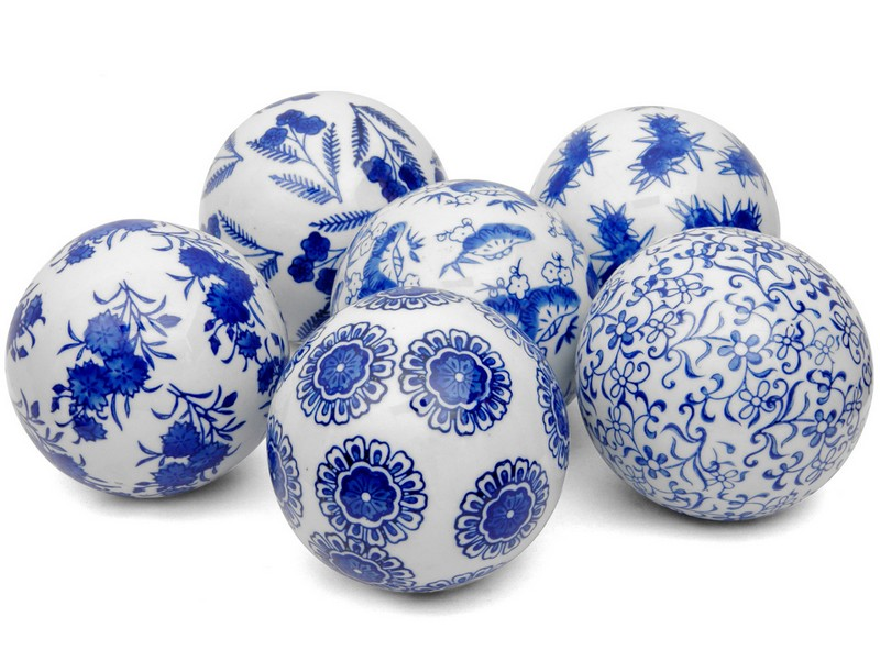 Decorative Ceramic Balls Blue White