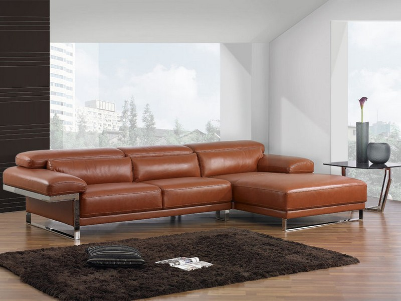 Deep Leather Sectional Sofa