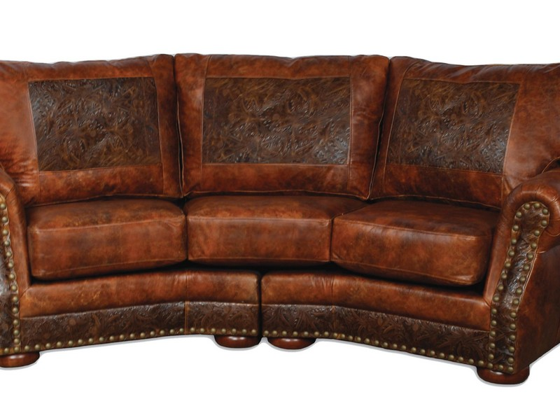 Distressed Brown Leather Sectional