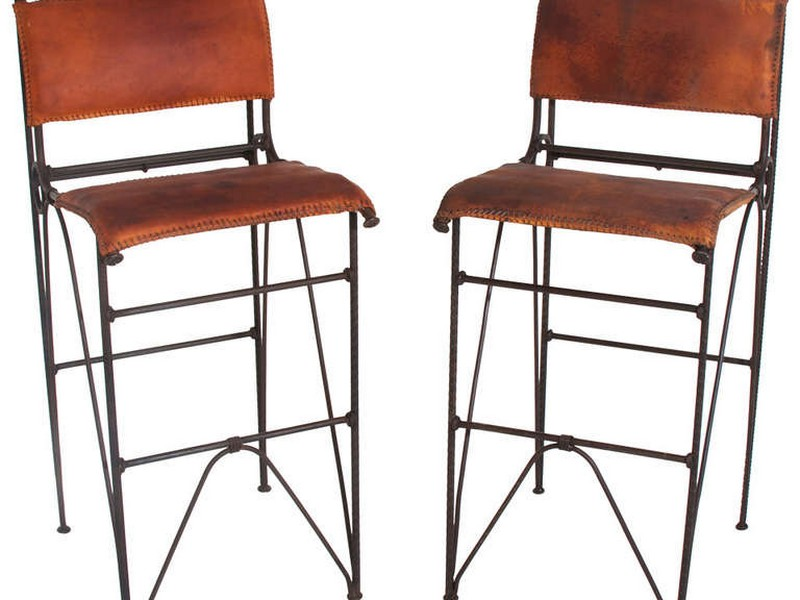 Distressed Leather Bar Stools