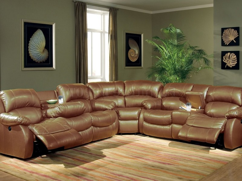 Distressed Leather Reclining Sectional
