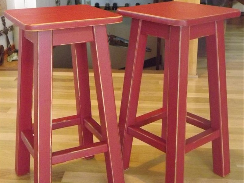 Distressed Saddle Bar Stools
