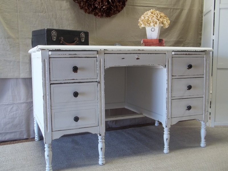 Distressed White Desk