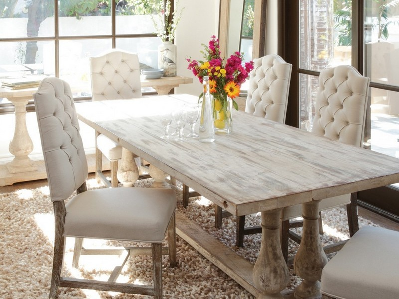 Distressed White Wood Dining Table