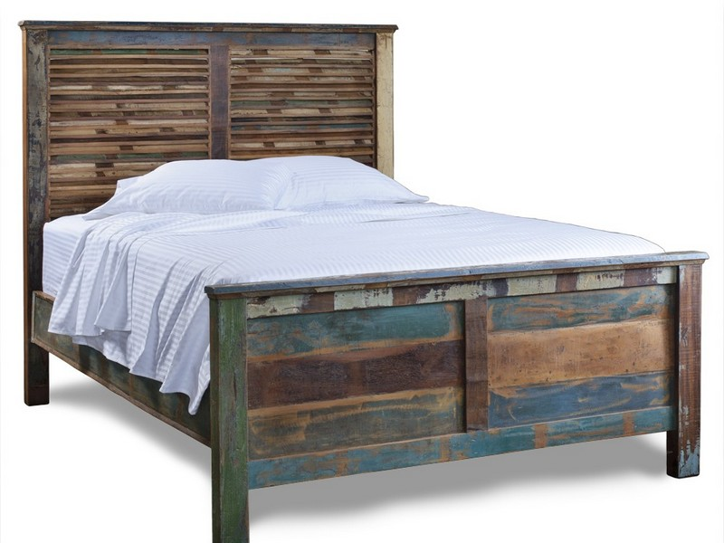Distressed Wood Platform Bed