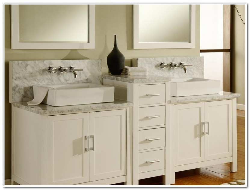 Double Bathroom Vanities Raised Middle