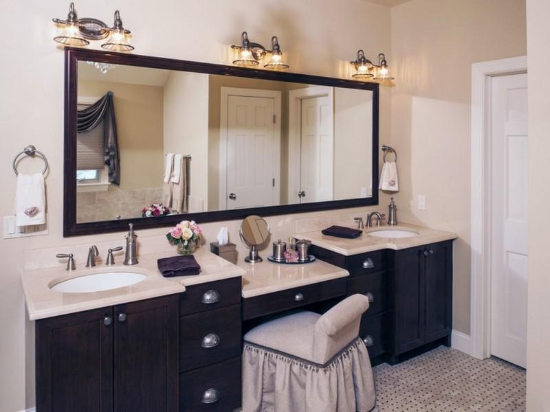 Double Bathroom Vanities With Makeup Area