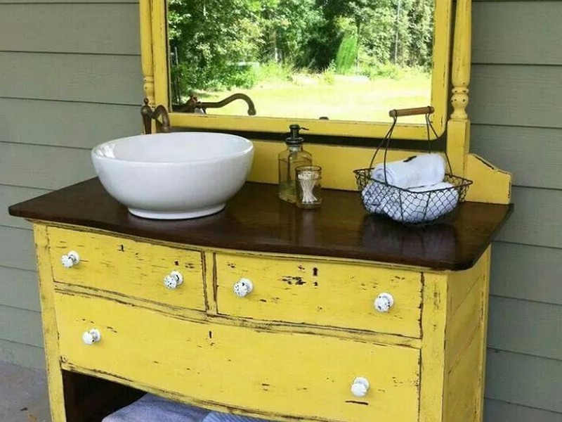 Dresser Converted Into Bathroom Vanity