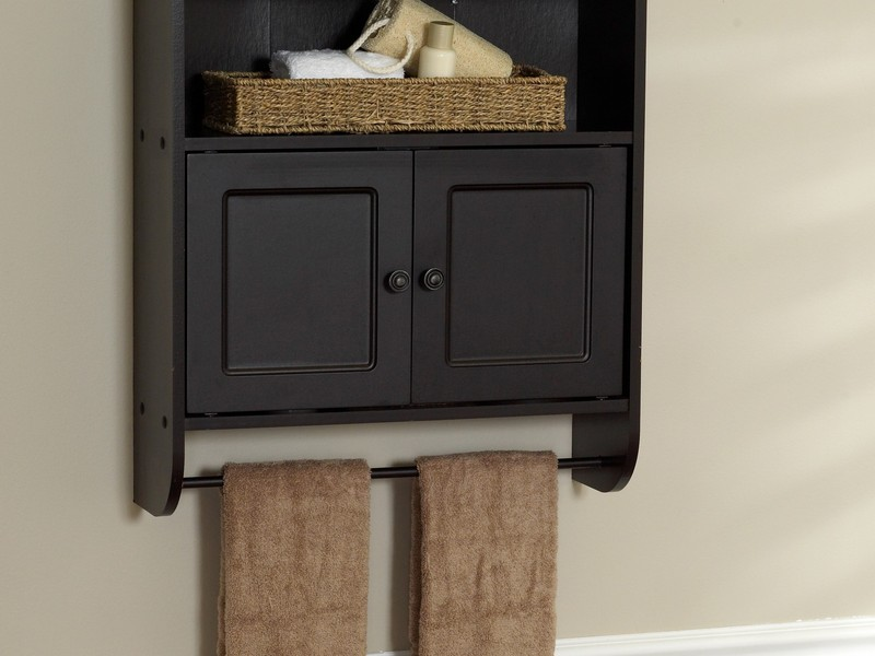 Espresso Bathroom Wall Cabinet With Towel Bar