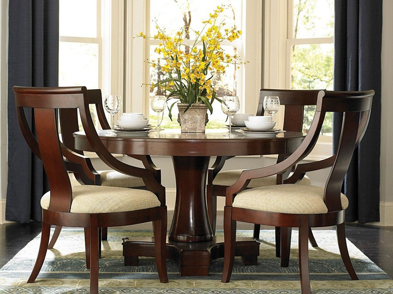 Espresso Round Dining Table Set